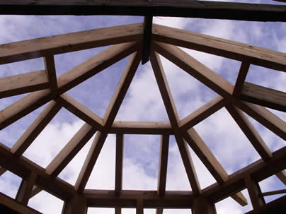 New roof on octagonal green oak extension