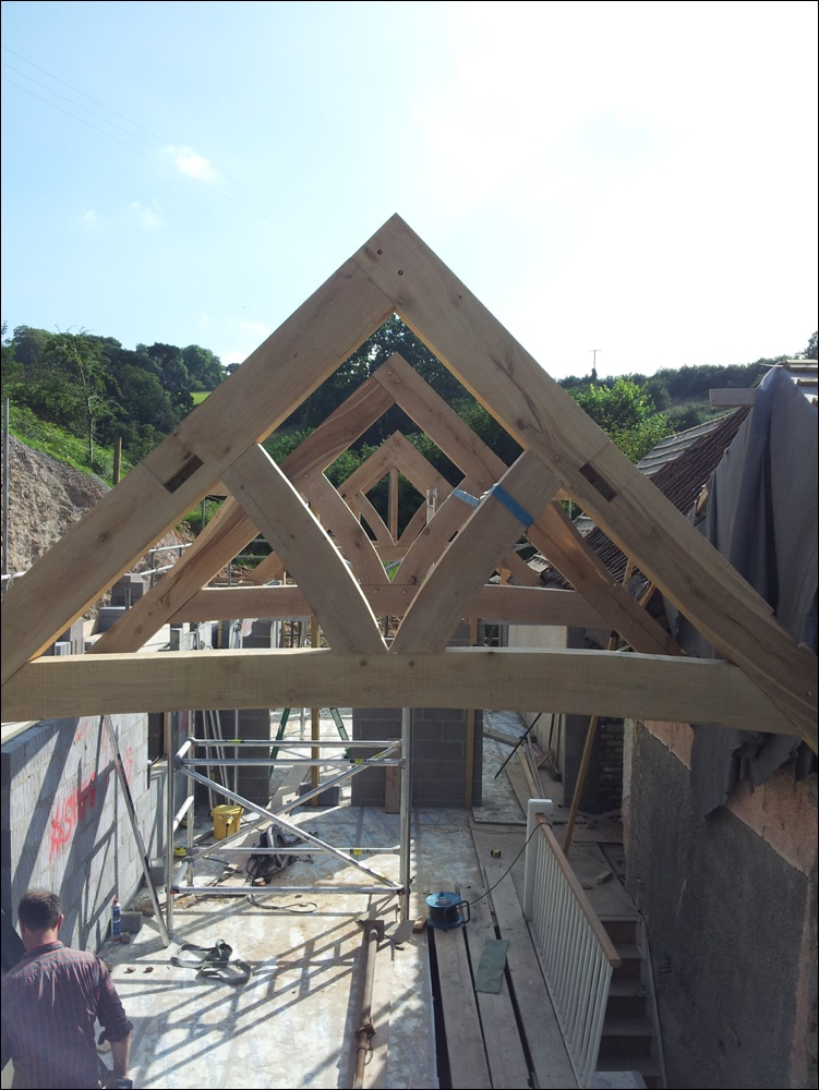 Curved beam oak trusses in Dorset