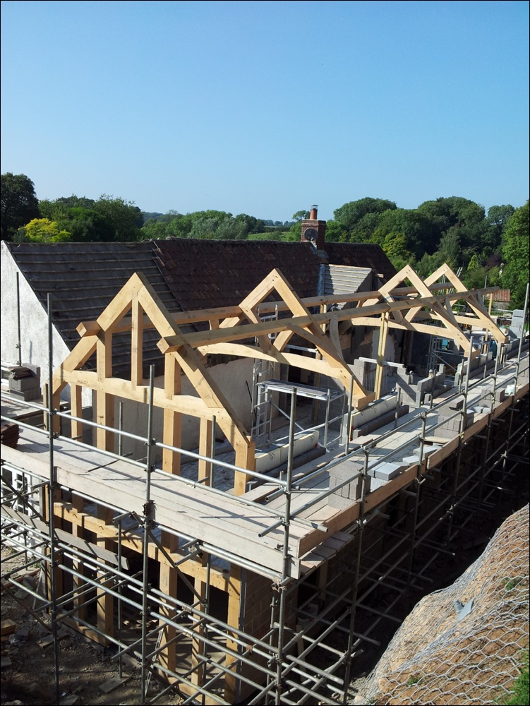 Curved beam oak trusses in Dorset